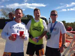Chris Marks, Jack Howley, and Kevin Brennan re-hydrate following the Surftown half 9/15/2013.